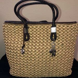Brighton Straw and leather tote bag